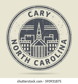Grunge rubber stamp or label with text Cary, North Carolina written inside, vector illustration
