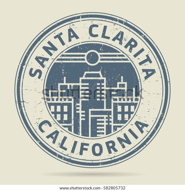 Grunge rubber stamp or label with text Santa Clarita, California written inside, vector illustration