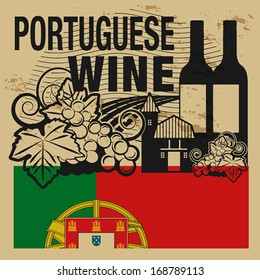 Grunge rubber stamp or label with words Portuguese Wine, vector illustration