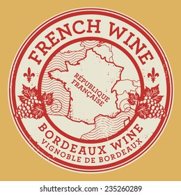 Grunge rubber stamp or label with words French Wine, Burgundy Wine, vector illustration