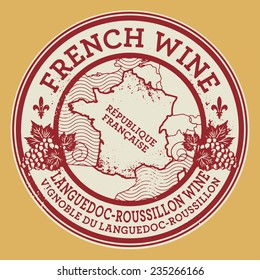 Grunge rubber stamp or label with words French Wine, Languedoc-Roussillon wine, vector illustration
