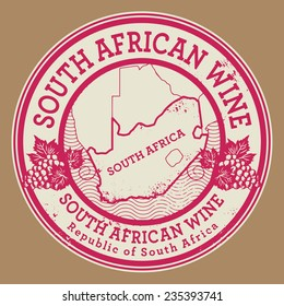 Grunge rubber stamp or label with words South African Wine, vector illustration