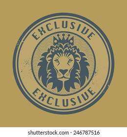 Grunge rubber stamp with Lion head and the word exclusive written inside the stamp