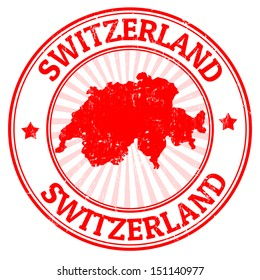 Grunge rubber stamp with the map of Switzerland, vector illustration