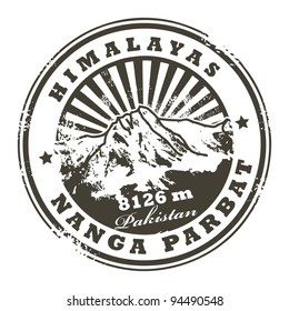 Grunge rubber stamp with the Mount Nanga Parbat, ninth highest mountain on Earth, vector illustration