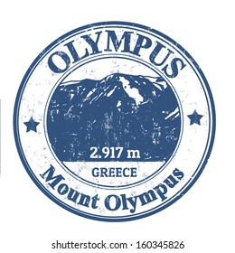 Grunge rubber stamp with the Mount Olympus, vector illustration
