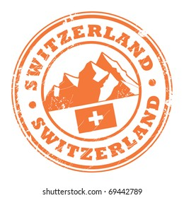 Grunge rubber stamp with the mountains and flag of Switzerland, vector illustration