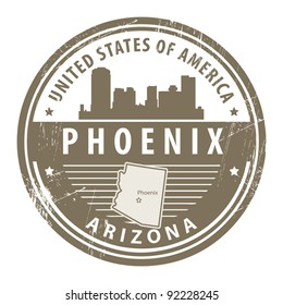 Grunge rubber stamp with name of Arizona, Phoenix, vector illustration