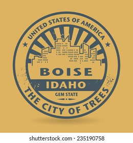 Grunge rubber stamp with name of Boise, Idaho, vector illustration