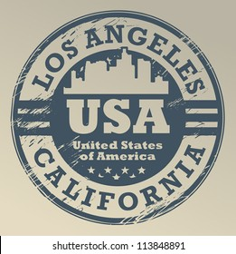 Grunge rubber stamp with name of California, Los Angeles, vector illustration