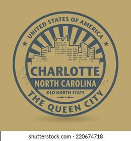 Grunge rubber stamp with name of Charlotte, North Carolina, vector illustration