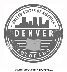 Grunge rubber stamp with name of Colorado, Denver, vector illustration