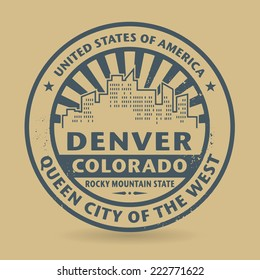 Grunge rubber stamp with name of Denver, Colorado, vector illustration