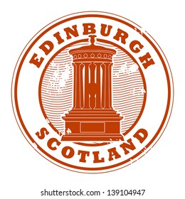 Grunge rubber stamp with the name of Edinburgh, Scotland written inside the stamp, vector illustration