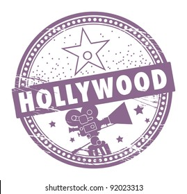 Grunge rubber stamp with the name of Hollywood written inside the stamp, vector illustration