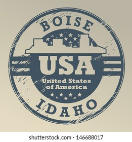 Grunge rubber stamp with name of Idaho, Boise, vector illustration