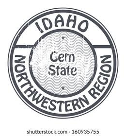 Grunge rubber stamp with name of Idaho, Northwestern Region, vector illustration