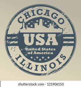 Grunge rubber stamp with name of Illinois, Chicago, vector illustration