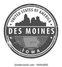 Grunge rubber stamp with name of Iowa, Des Moines, vector illustration