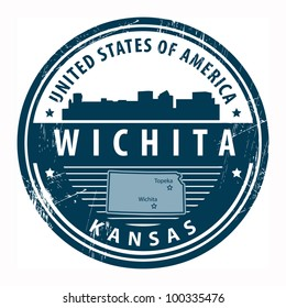 Grunge rubber stamp with name of Kansas, Wichita, vector illustration