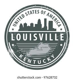 Grunge rubber stamp with name of Kentucky, Louisville, vector illustration