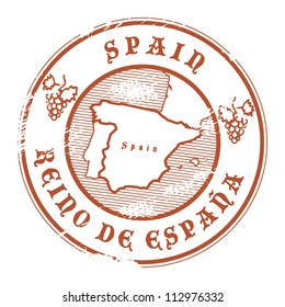 Grunge rubber stamp with the name and map of Spain, vector illustration