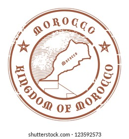 Grunge rubber stamp with the name and map of Morocco, vector illustration