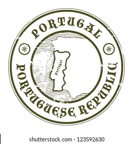 Grunge rubber stamp with the name and map of Portugal, vector illustration