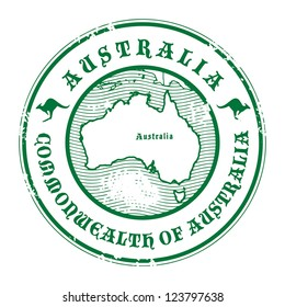 Grunge rubber stamp with the name and map of Australia, vector illustration