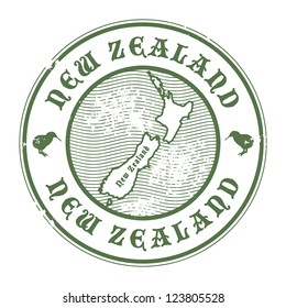 Grunge rubber stamp with the name and map of New Zealand, vector illustration