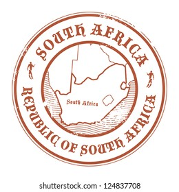 Grunge rubber stamp with the name and map of South Africa, vector illustration