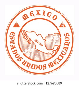 Grunge rubber stamp with the name and map of Mexico, vector illustration