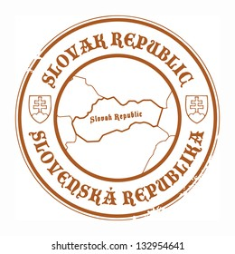 Grunge rubber stamp with the name and map of Slovak Republic, vector illustration