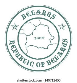 Grunge rubber stamp with the name and map of Belarus, vector illustration
