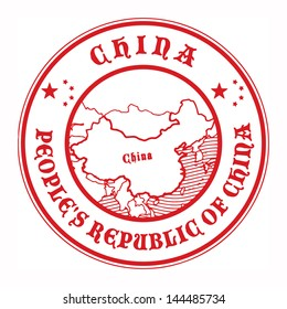Grunge rubber stamp with the name and map of China, vector illustration
