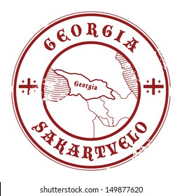 Grunge rubber stamp with the name and map of Georgia, vector illustration