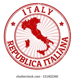 Grunge rubber stamp with the name and map of Italy, vector illustration
