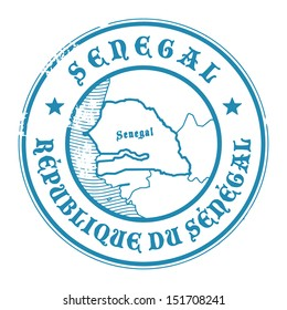 Grunge rubber stamp with the name and map of Senegal, vector illustration