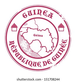 Grunge rubber stamp with the name and map of Guinea, vector illustration