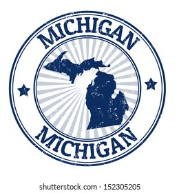 Grunge rubber stamp with the name and map of Michigan, vector illustration
