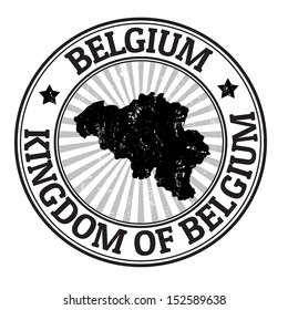 Grunge rubber stamp with the name and map of Belgium, vector illustration