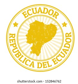 Grunge rubber stamp with the name and map of Ecuador, vector illustration