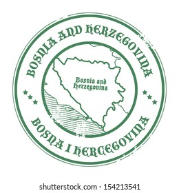 Grunge rubber stamp with the name and map of Bosnia and Herzegovina, vector illustration