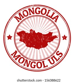 Grunge rubber stamp with the name and map of Mongolia, vector illustration