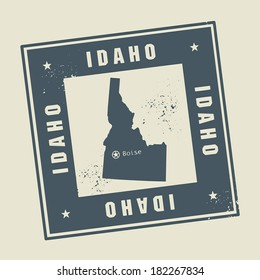 Grunge rubber stamp with name and map of Idaho, USA, vector illustration
