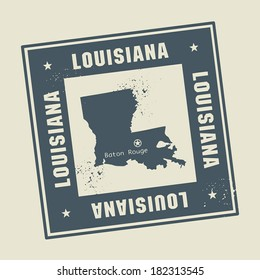 Grunge rubber stamp with name and map of Louisiana, USA, vector illustration