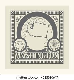 Grunge rubber stamp with name and map of Washington, USA, vector illustration