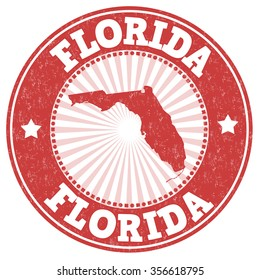 Grunge rubber stamp with the name and map of Florida, vector illustration