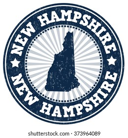 Grunge rubber stamp with the name and map of New Hampshire, vector illustration