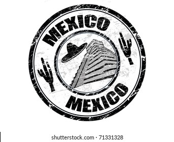 Grunge rubber stamp with the name Mexico written inside the stamp